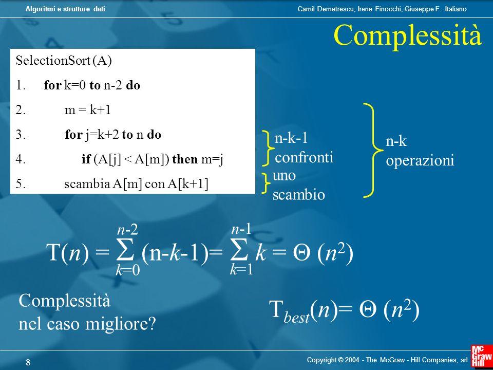 Complessità T(n) =  (n-k-1)=  k =  (n2) Tbest(n)=  (n2)
