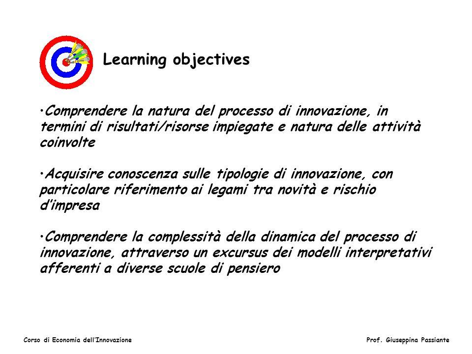 Learning objectives Comprendere la natura del processo di innovazione, in termini di risultati/risorse impiegate e natura delle attività coinvolte.