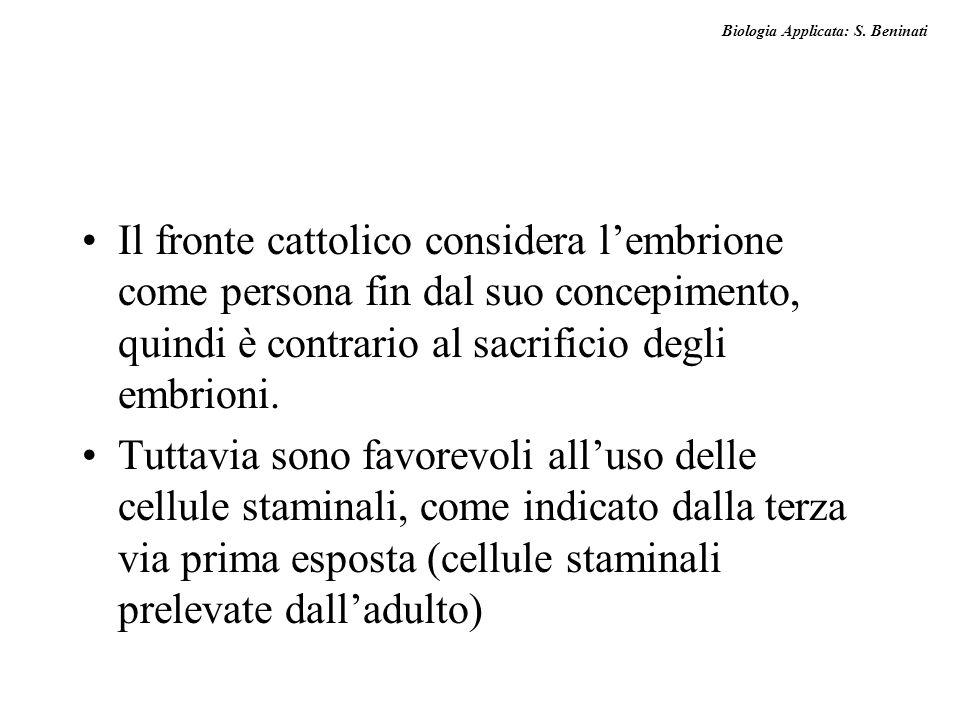 Il fronte cattolico considera l'embrione come persona fin dal suo concepimento, quindi è contrario al sacrificio degli embrioni.