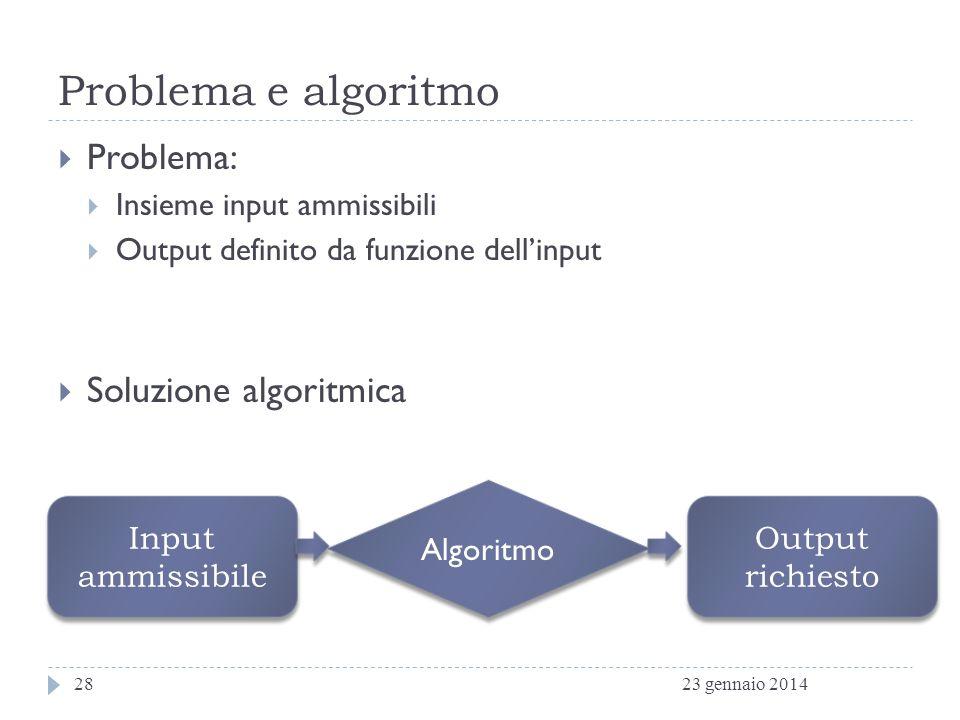 Problema e algoritmo Problema: Soluzione algoritmica