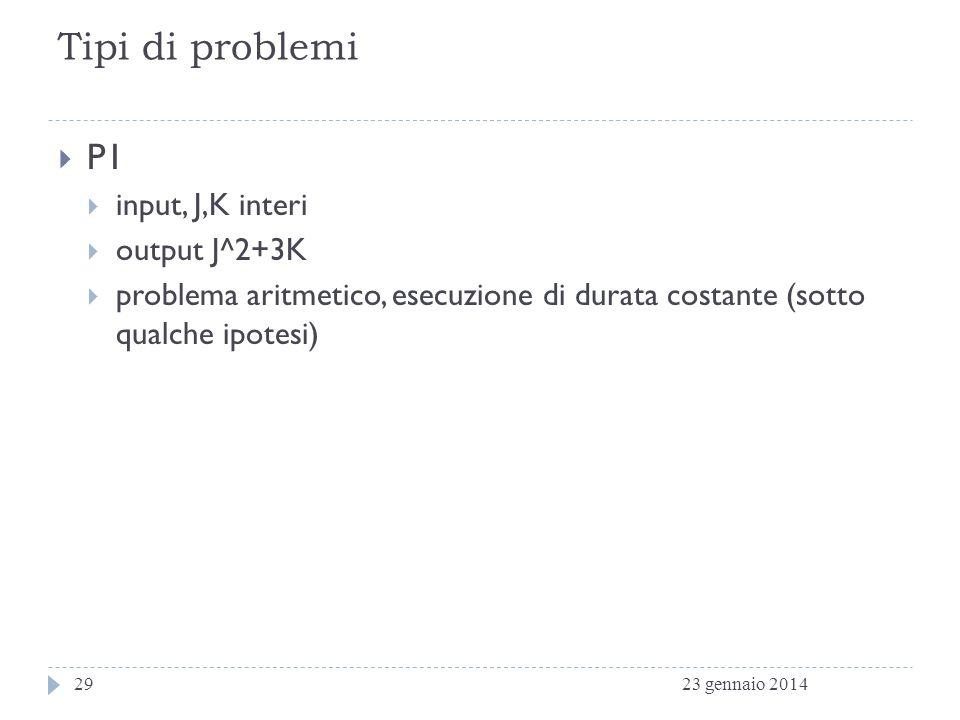 Tipi di problemi P1 input, J,K interi output J^2+3K