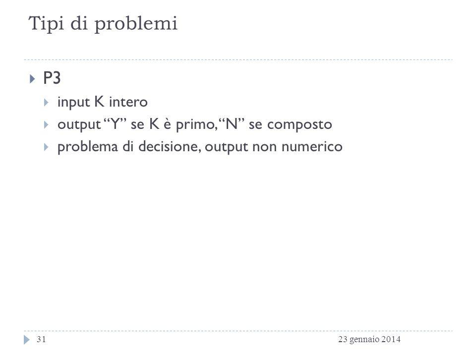 Tipi di problemi P3 input K intero