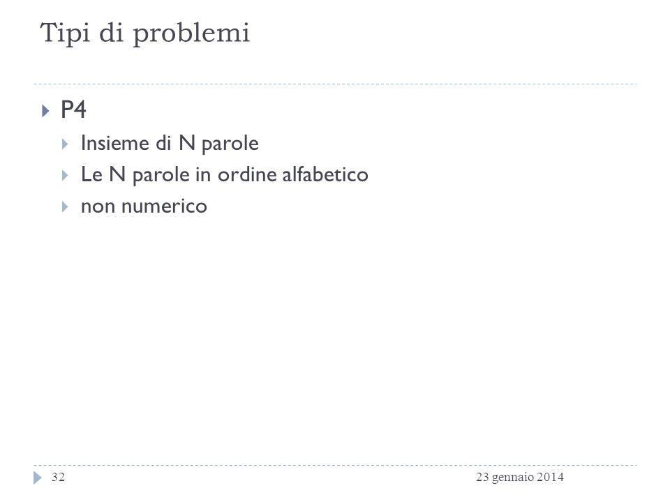 Tipi di problemi P4 Insieme di N parole