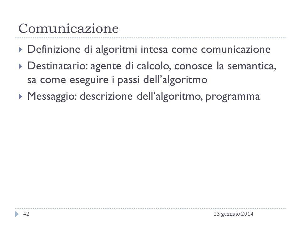 Comunicazione Definizione di algoritmi intesa come comunicazione