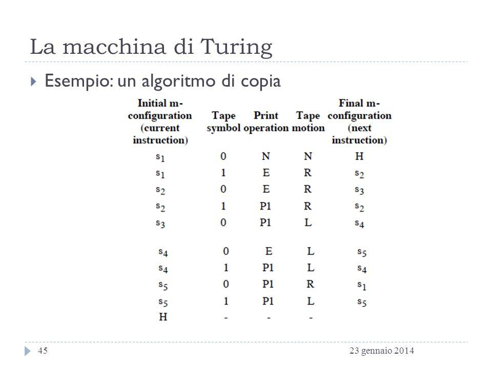 La macchina di Turing Esempio: un algoritmo di copia 27 marzo 2017