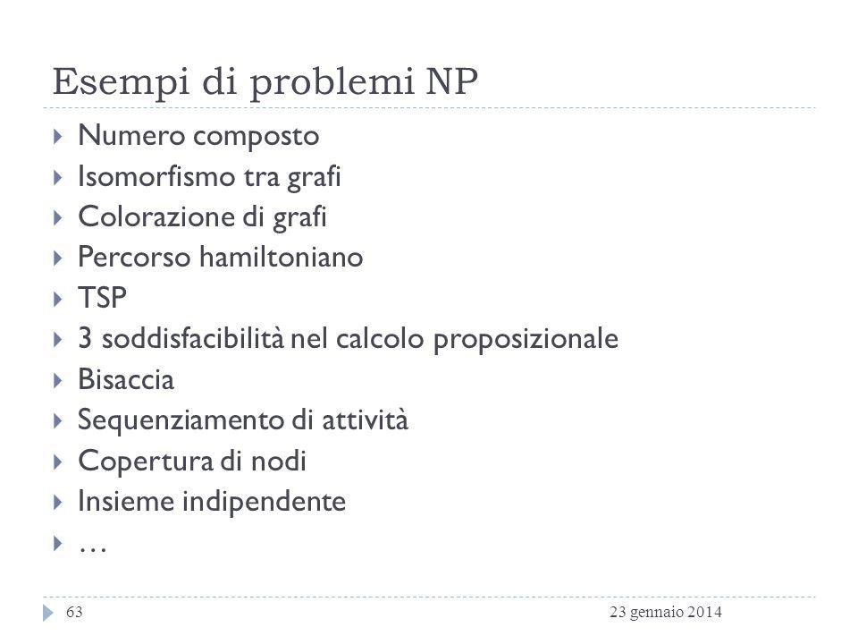 Esempi di problemi NP Numero composto Isomorfismo tra grafi