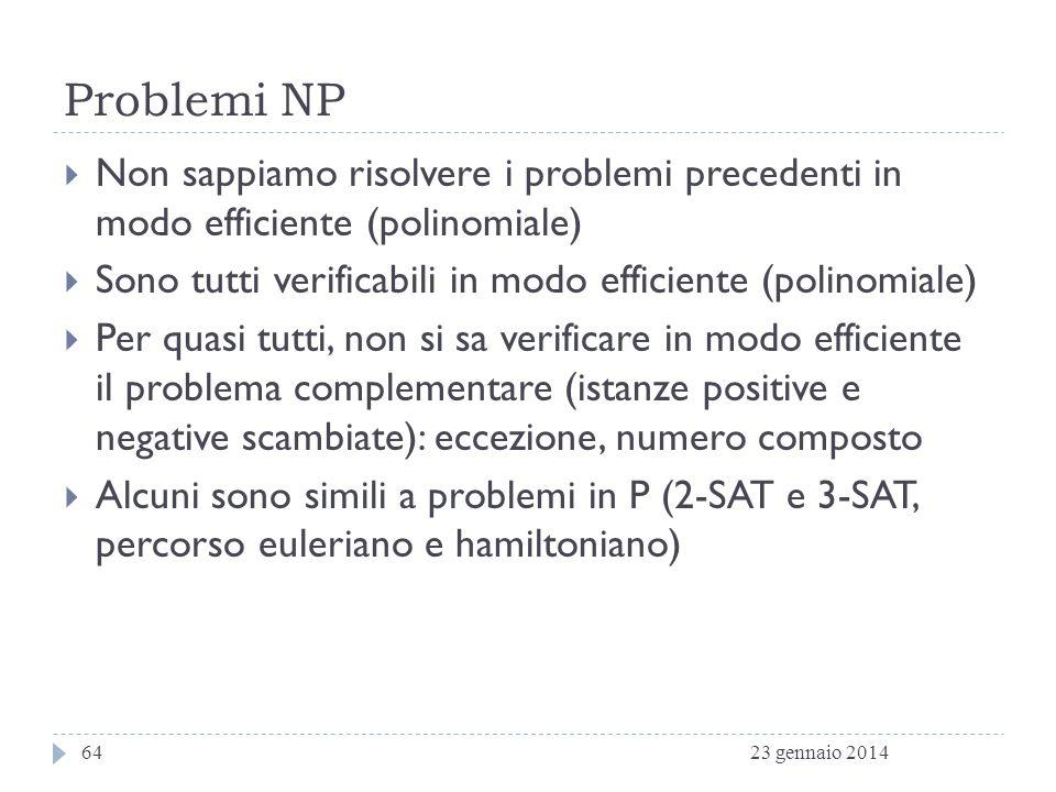 Problemi NP Non sappiamo risolvere i problemi precedenti in modo efficiente (polinomiale) Sono tutti verificabili in modo efficiente (polinomiale)