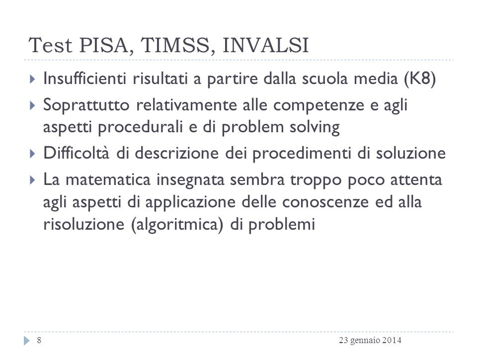 Test PISA, TIMSS, INVALSI