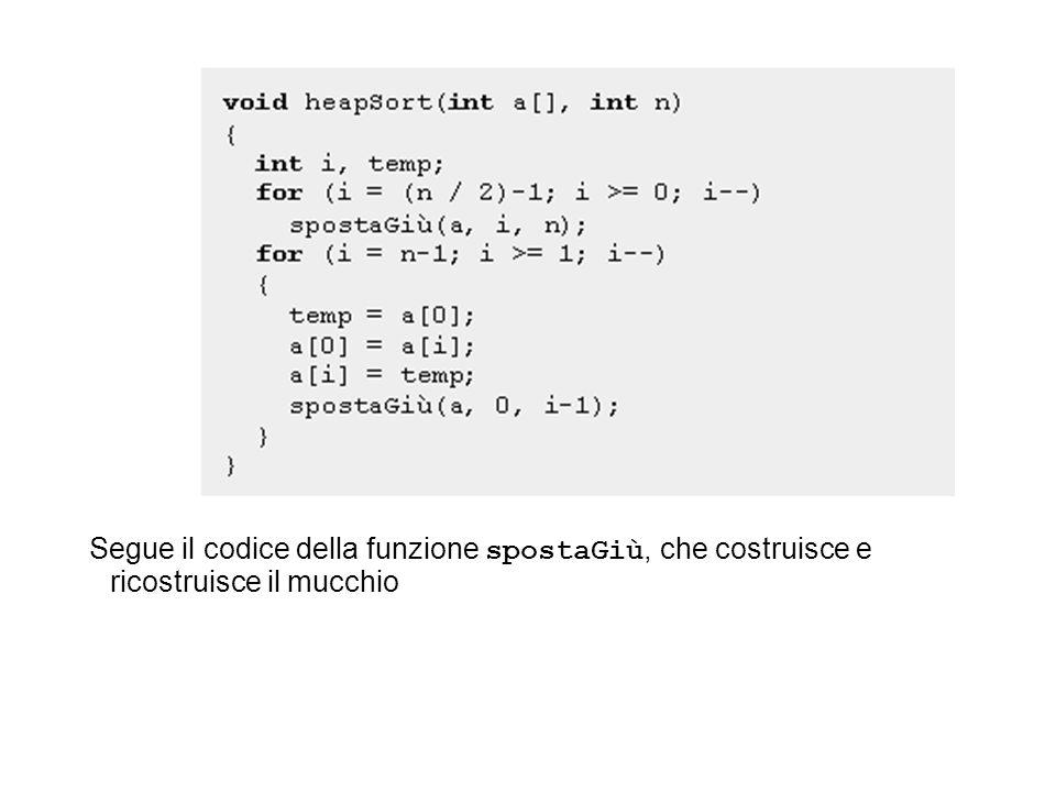 Segue il codice della funzione spostaGiù, che costruisce e ricostruisce il mucchio