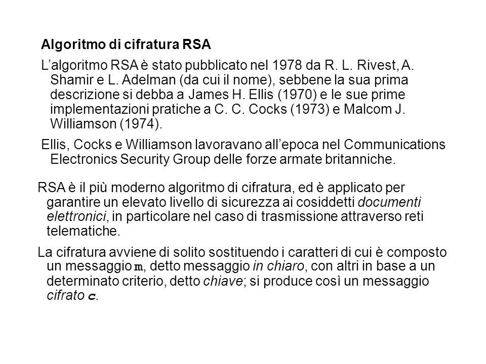 Algoritmo di cifratura RSA