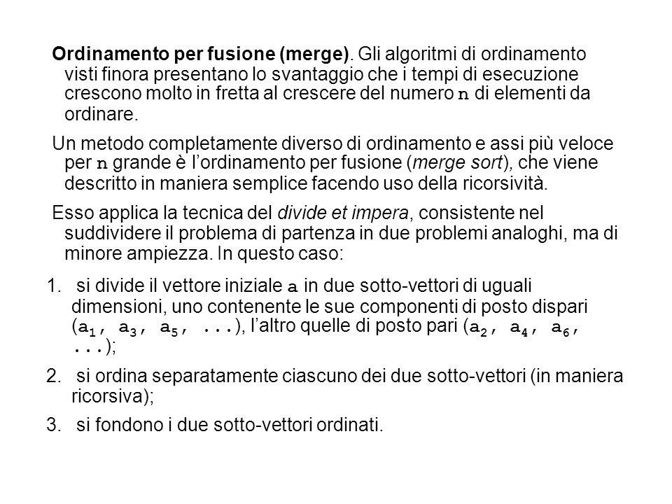 Ordinamento per fusione (merge)
