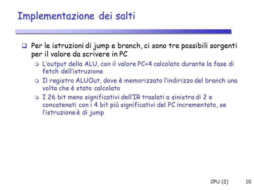 Implementazione dei salti