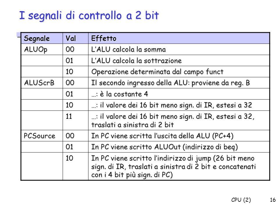 I segnali di controllo a 2 bit