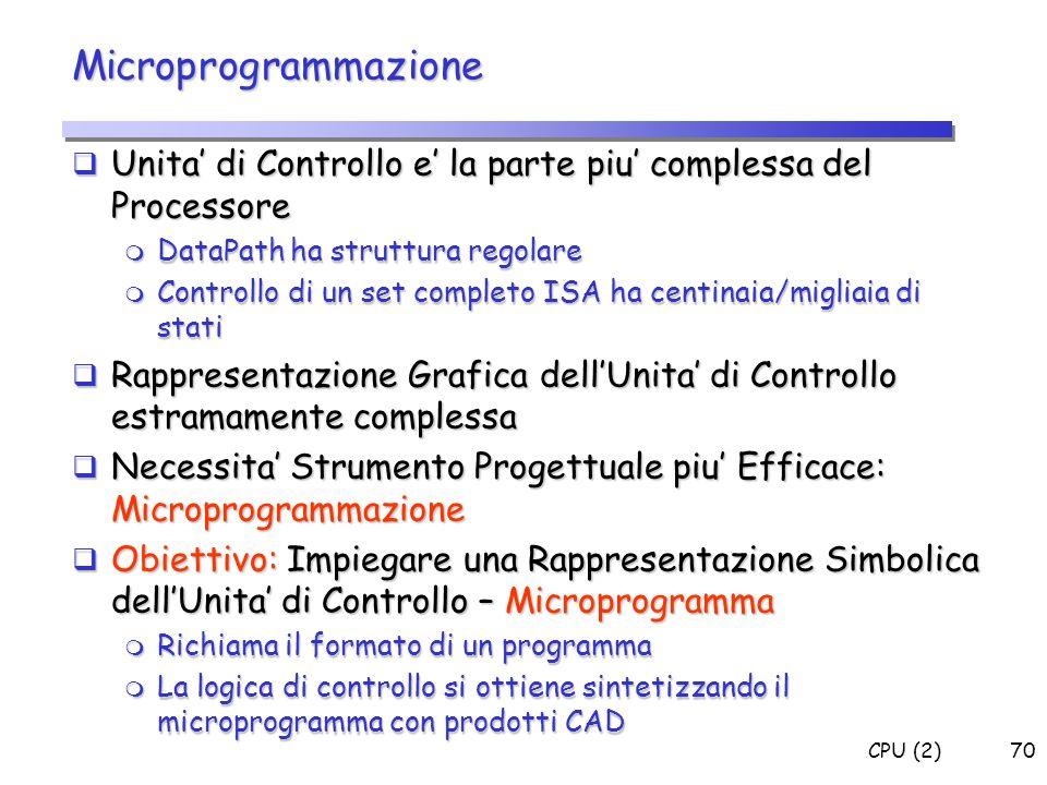 Microprogrammazione Unita' di Controllo e' la parte piu' complessa del Processore. DataPath ha struttura regolare.