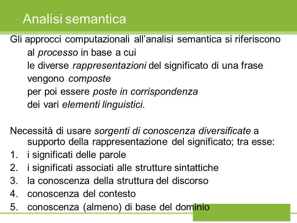 Analisi semantica Gli approcci computazionali all'analisi semantica si riferiscono. al processo in base a cui.