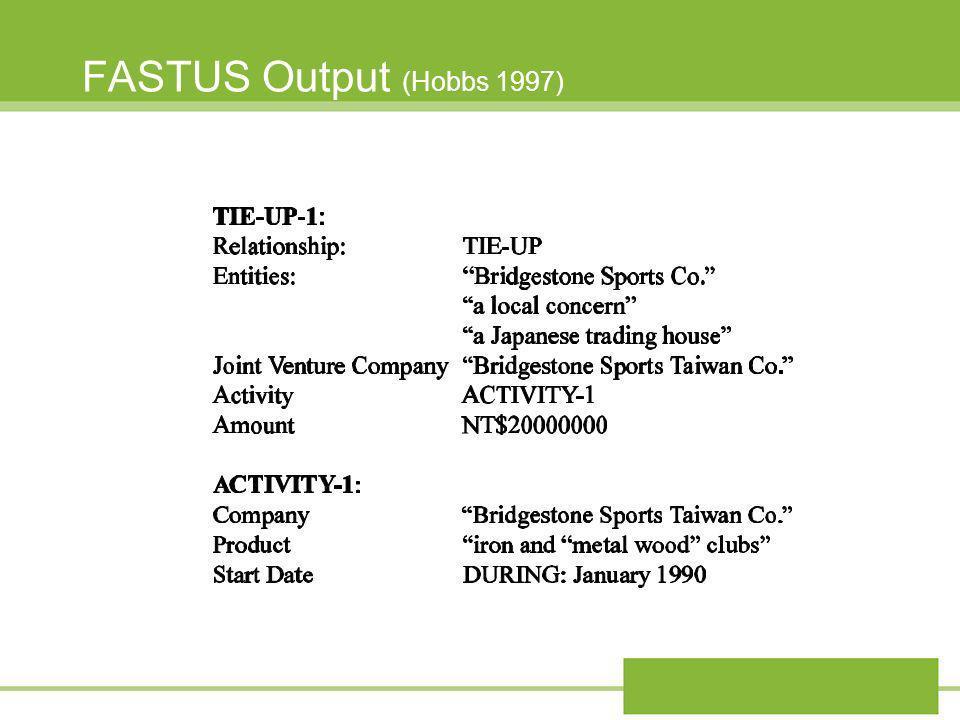 FASTUS Output (Hobbs 1997)