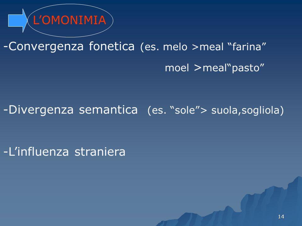 Convergenza fonetica (es. melo >meal farina