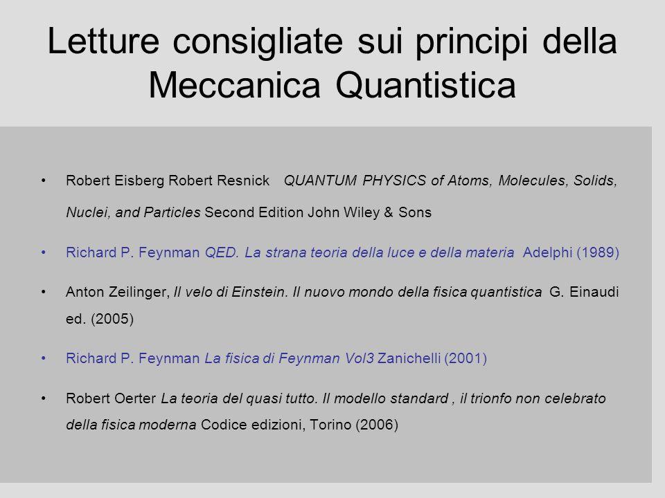 Letture consigliate sui principi della Meccanica Quantistica