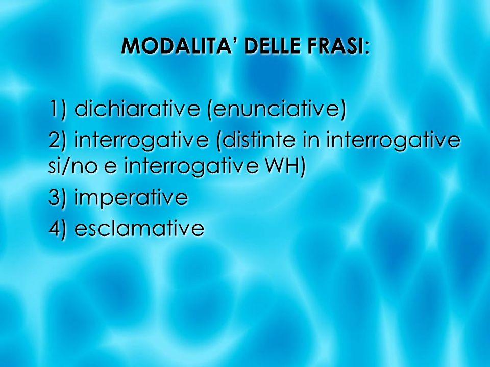MODALITA' DELLE FRASI: