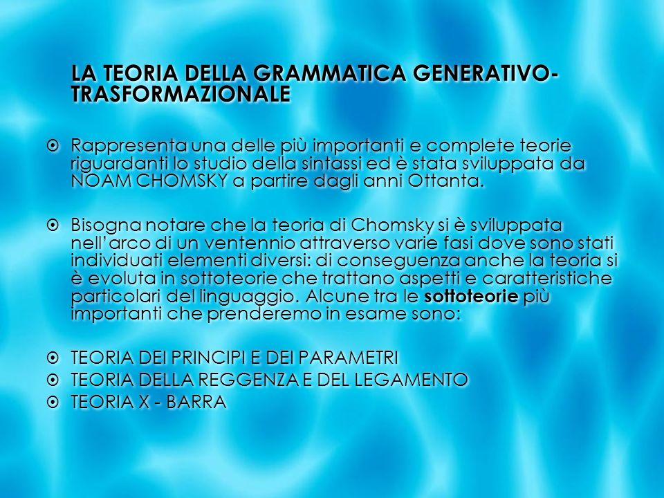 LA TEORIA DELLA GRAMMATICA GENERATIVO-TRASFORMAZIONALE