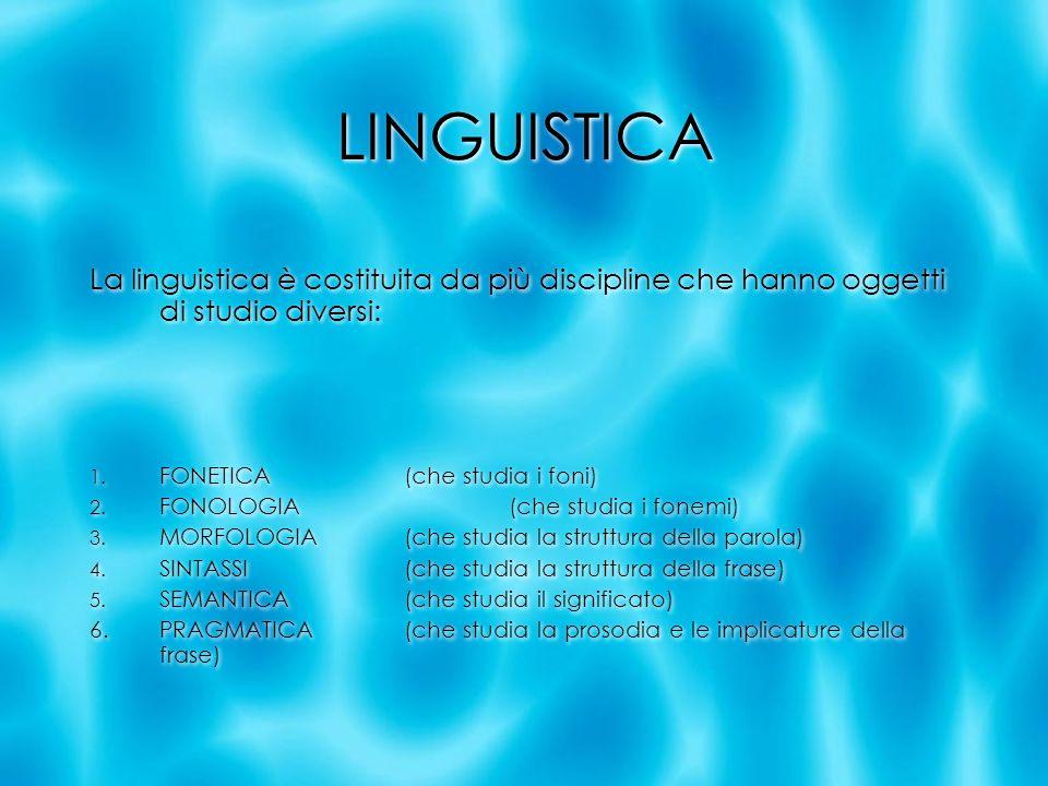LINGUISTICA La linguistica è costituita da più discipline che hanno oggetti di studio diversi: FONETICA (che studia i foni)