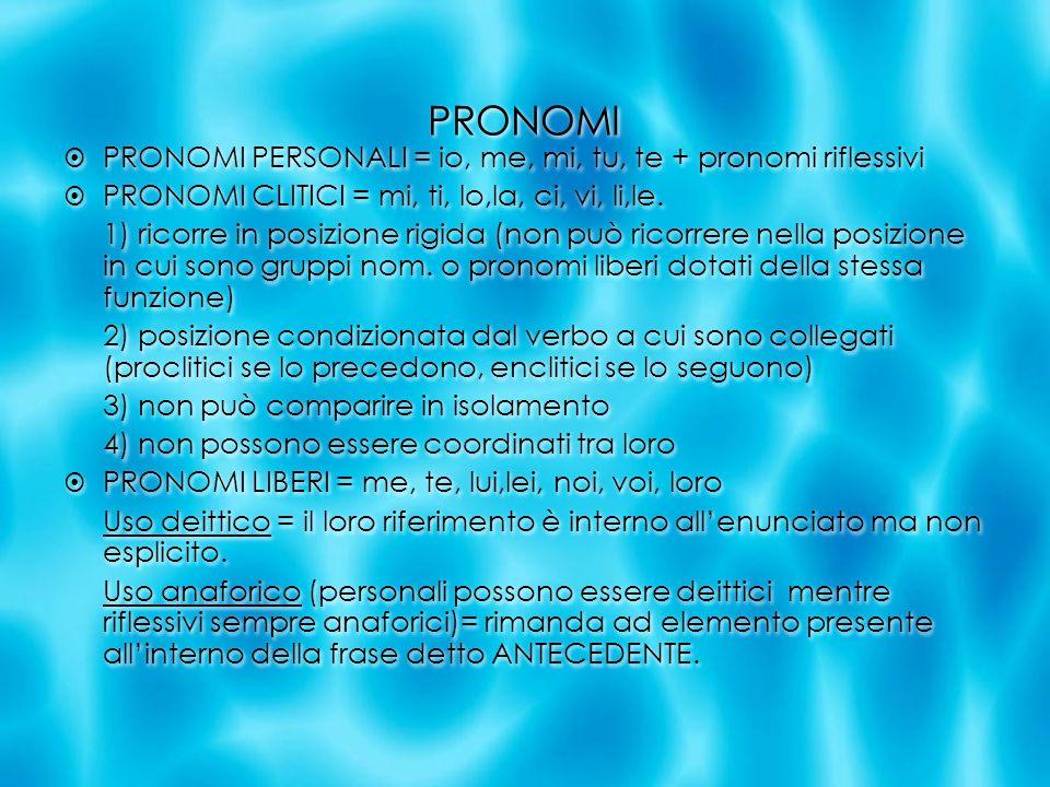 PRONOMI PRONOMI PERSONALI = io, me, mi, tu, te + pronomi riflessivi