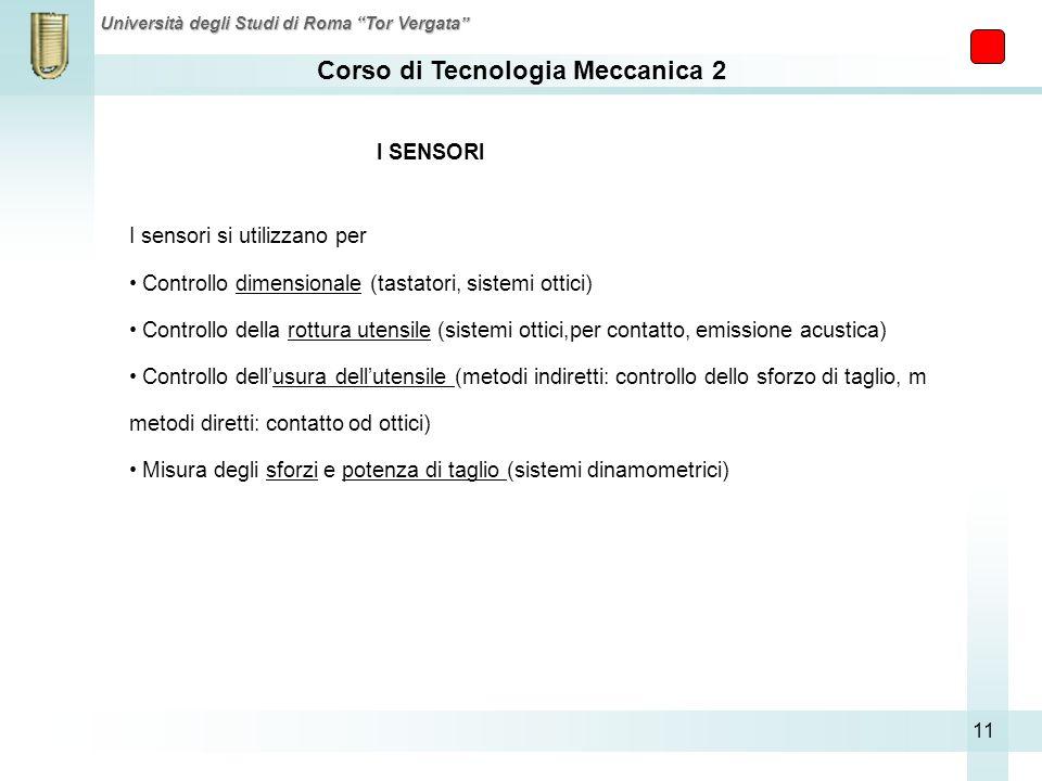 I SENSORI I sensori si utilizzano per. Controllo dimensionale (tastatori, sistemi ottici)