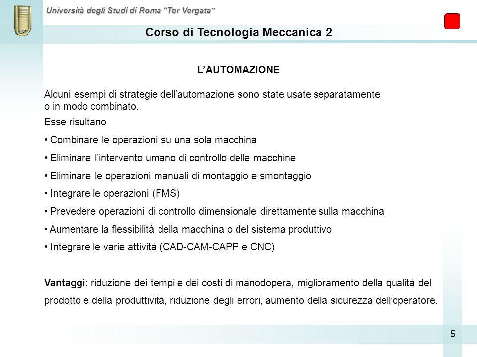 L'AUTOMAZIONE Alcuni esempi di strategie dell'automazione sono state usate separatamente. o in modo combinato.