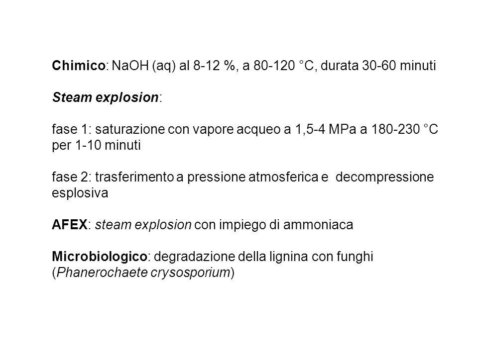Chimico: NaOH (aq) al 8-12 %, a 80-120 °C, durata 30-60 minuti