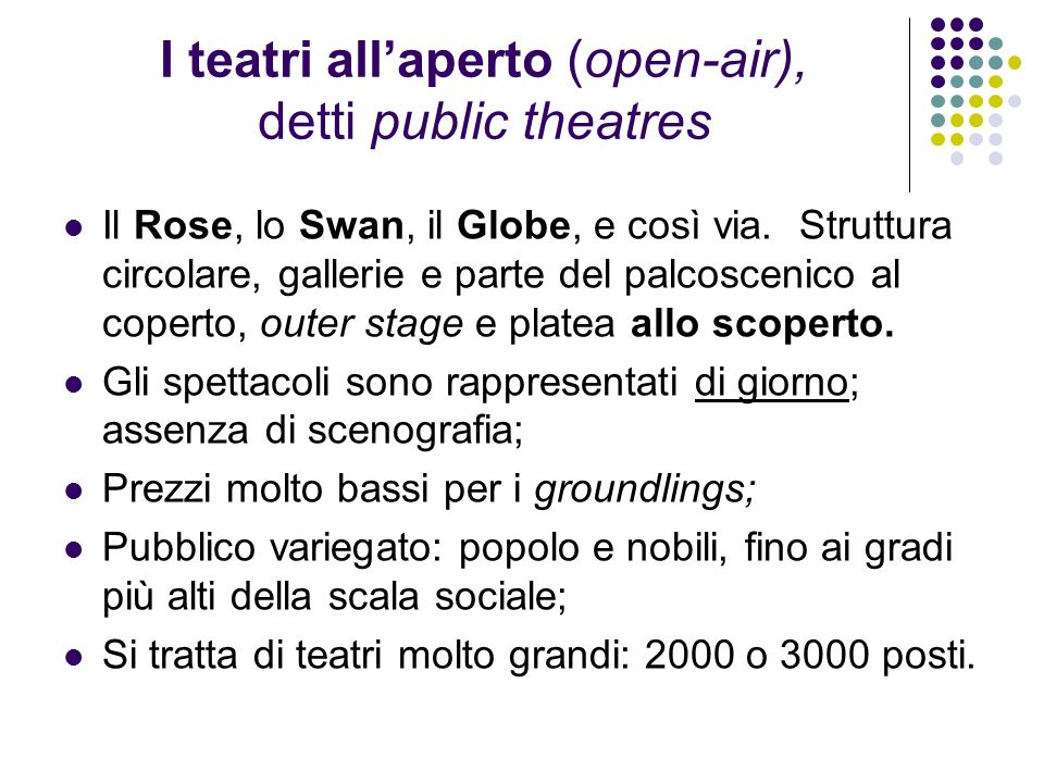 I teatri all'aperto (open-air), detti public theatres