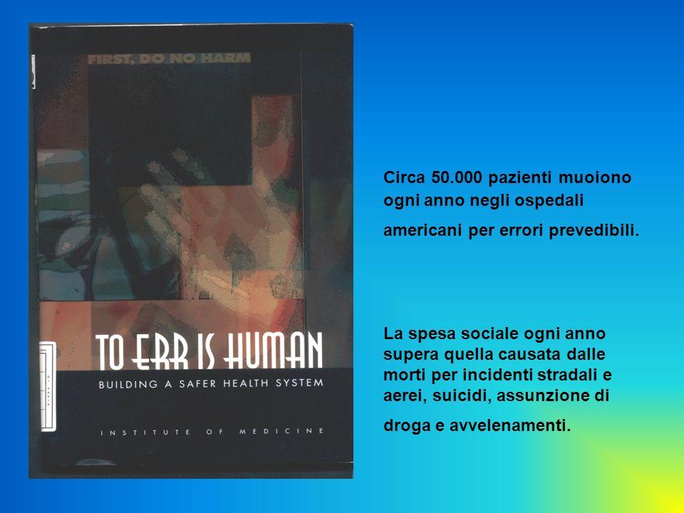 Circa 50.000 pazienti muoiono ogni anno negli ospedali americani per errori prevedibili.