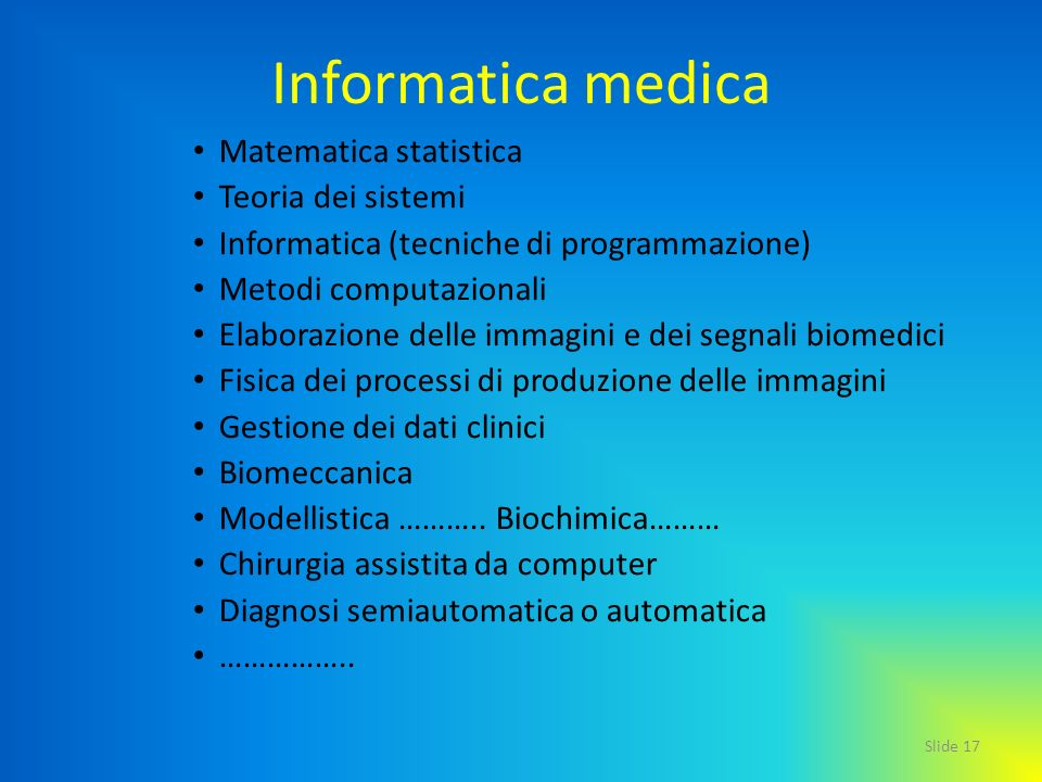 Informatica medica Matematica statistica Teoria dei sistemi