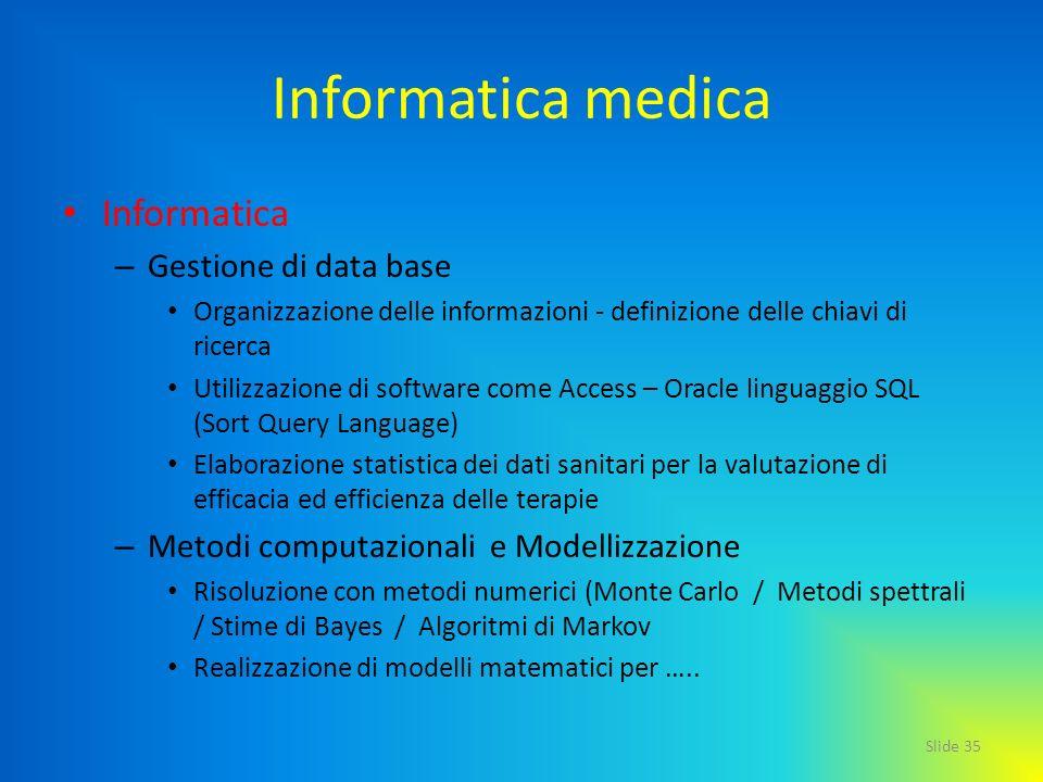 Informatica medica Informatica Gestione di data base