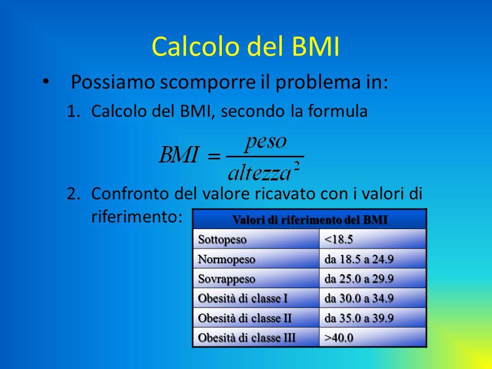 Valori di riferimento del BMI