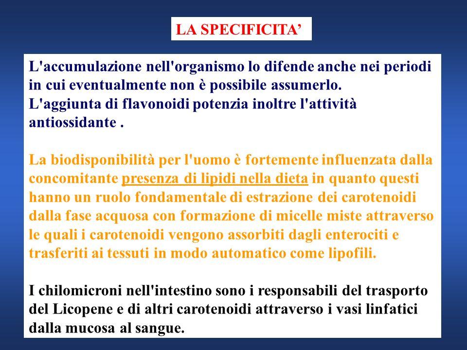 LA SPECIFICITA' L accumulazione nell organismo lo difende anche nei periodi in cui eventualmente non è possibile assumerlo.