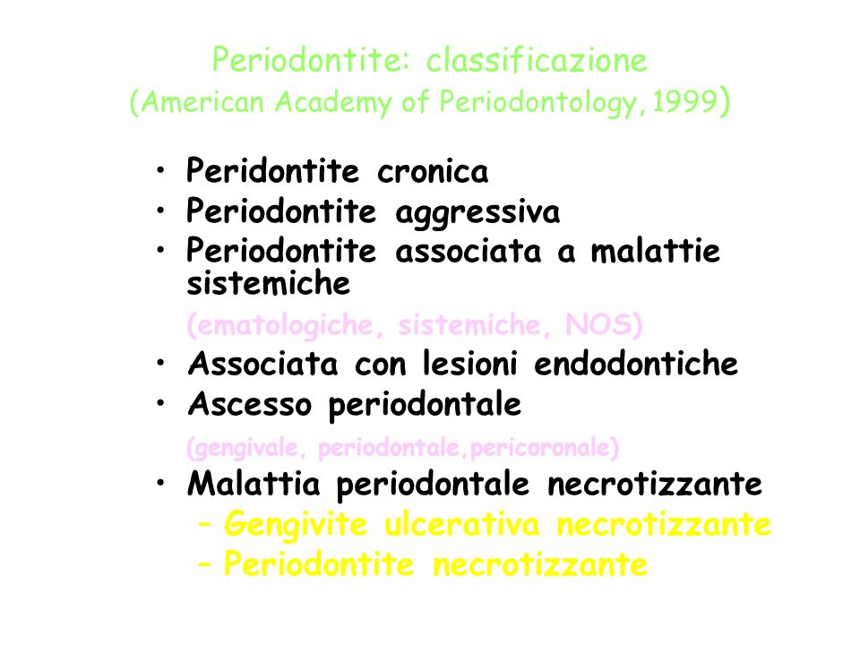 Periodontite: classificazione (American Academy of Periodontology, 1999)