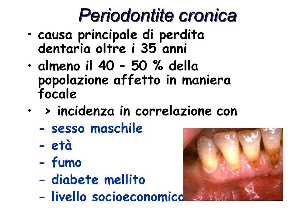 Periodontite cronicacausa principale di perdita dentaria oltre i 35 anni. almeno il 40 – 50 % della popolazione affetto in maniera focale.