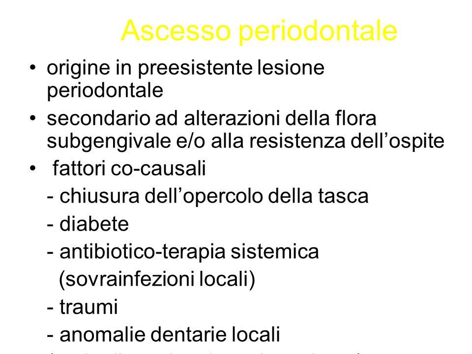 Ascesso periodontale origine in preesistente lesione periodontale