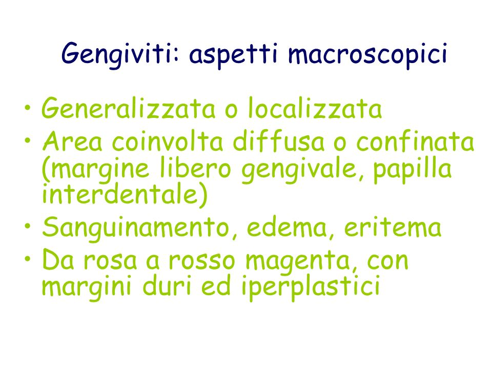 Gengiviti: aspetti macroscopici