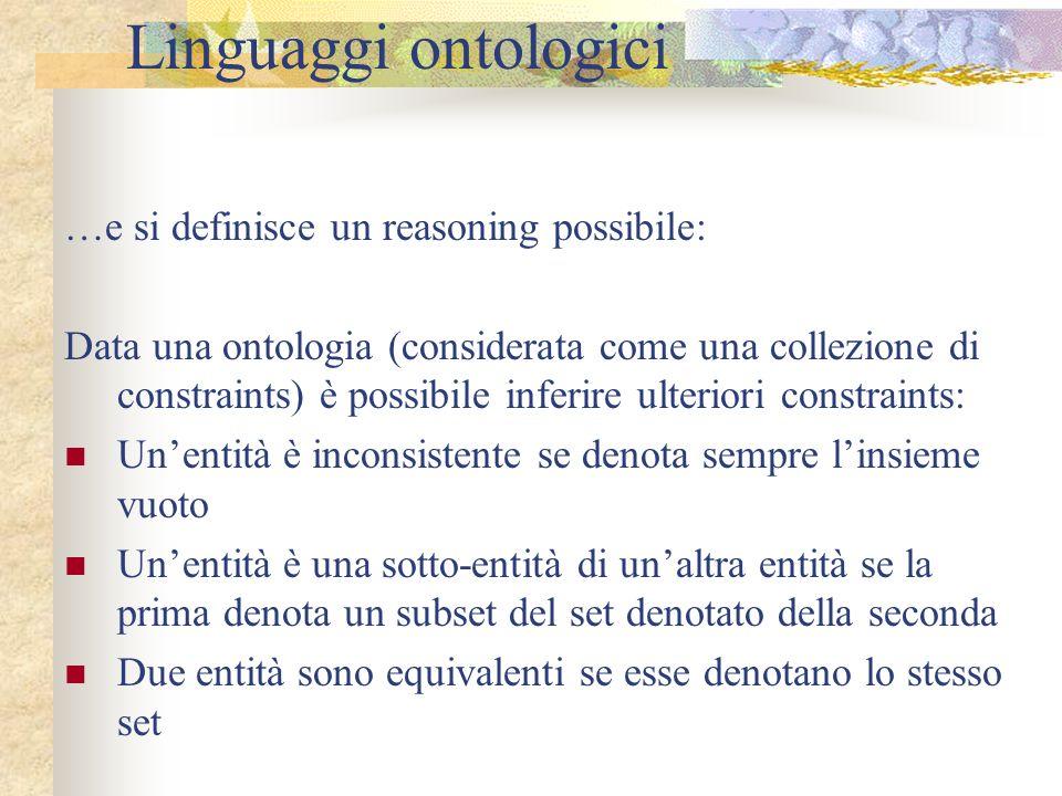 Linguaggi ontologici …e si definisce un reasoning possibile: