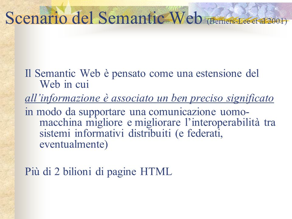 Scenario del Semantic Web (Berners-Lee et al 2001)