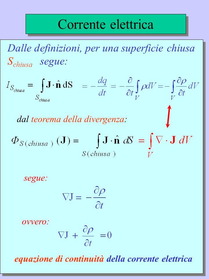 Corrente elettrica Dalle definizioni, per una superficie chiusa Schiusa segue: segue: dal teorema della divergenza:
