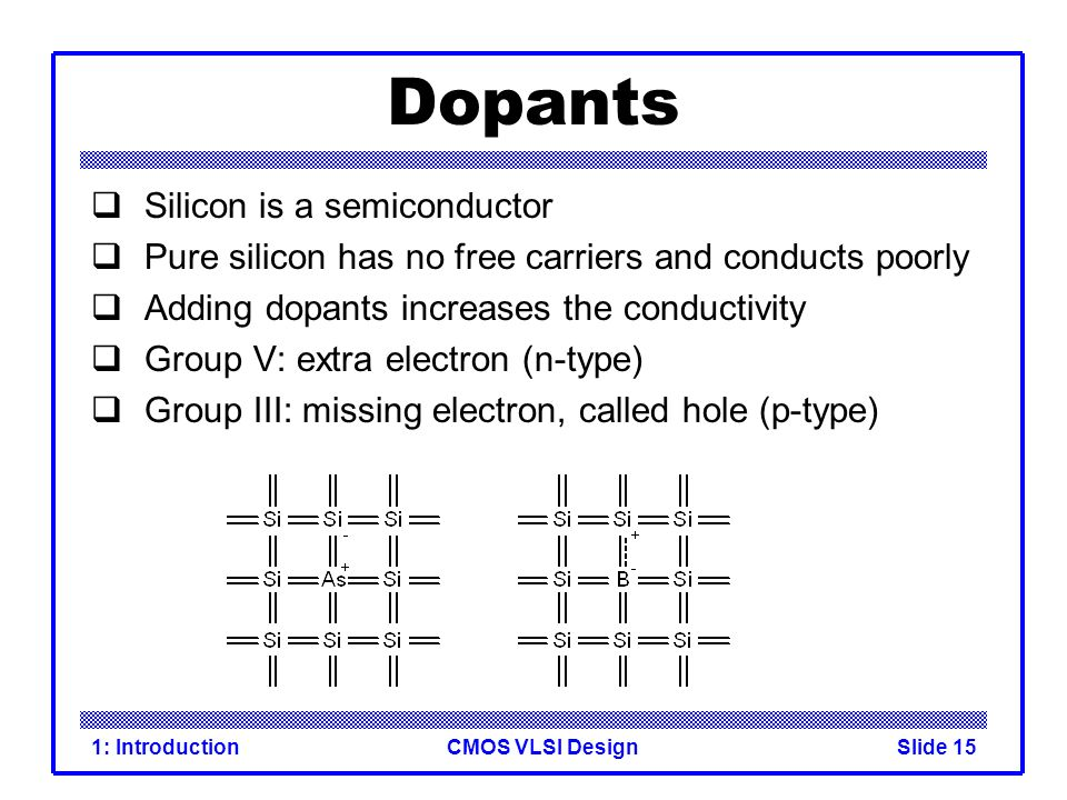 Dopants Silicon is a semiconductor