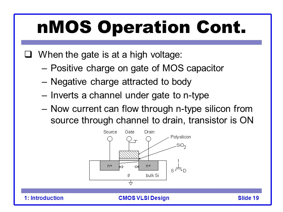 nMOS Operation Cont. When the gate is at a high voltage:
