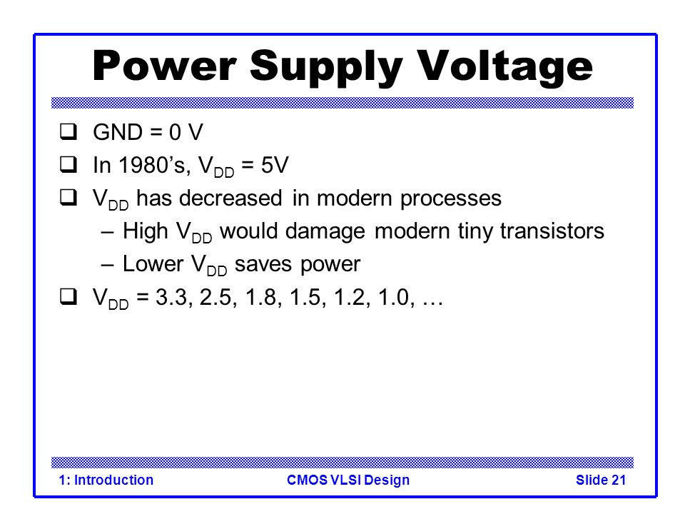Power Supply Voltage GND = 0 V In 1980's, VDD = 5V