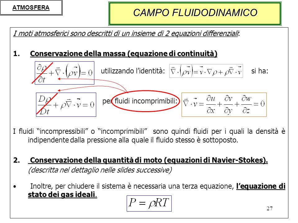 ATMOSFERA CAMPO FLUIDODINAMICO. I moti atmosferici sono descritti di un insieme di 2 equazioni differenziali: