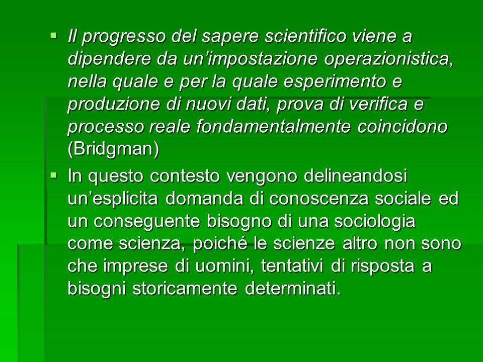 Il progresso del sapere scientifico viene a dipendere da un'impostazione operazionistica, nella quale e per la quale esperimento e produzione di nuovi dati, prova di verifica e processo reale fondamentalmente coincidono (Bridgman)