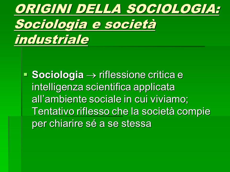 ORIGINI DELLA SOCIOLOGIA: Sociologia e società industriale