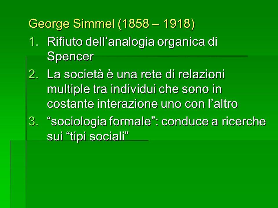 George Simmel (1858 – 1918) Rifiuto dell'analogia organica di Spencer.