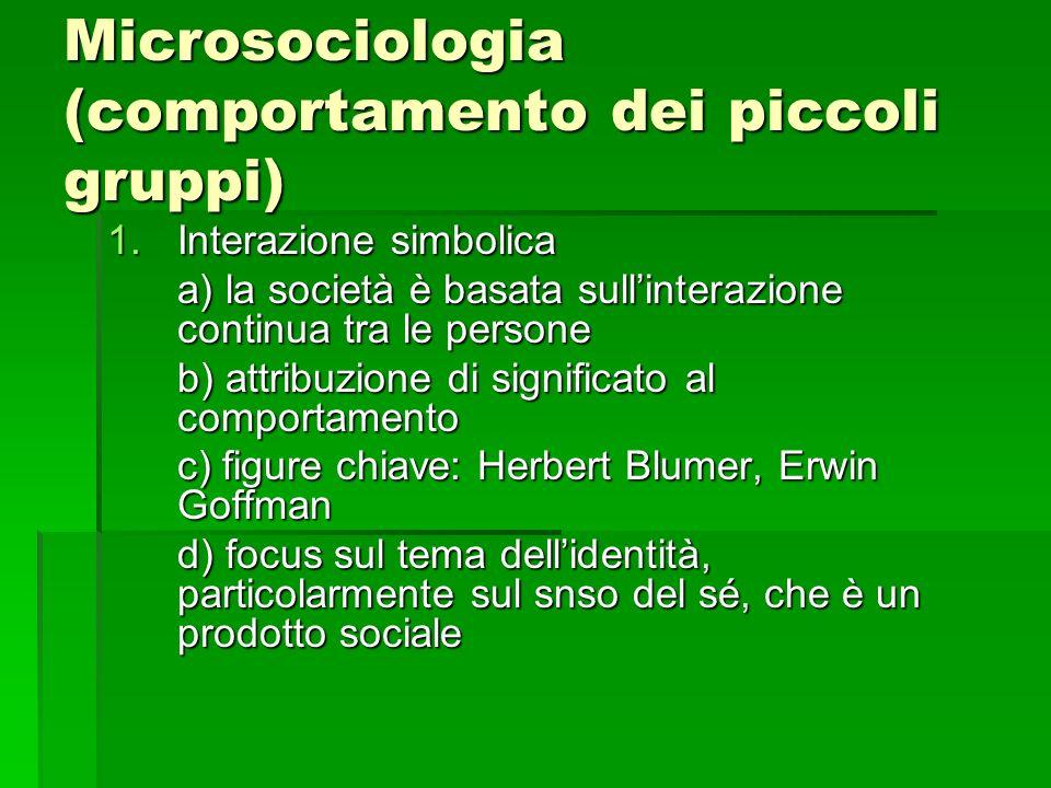 Microsociologia (comportamento dei piccoli gruppi)